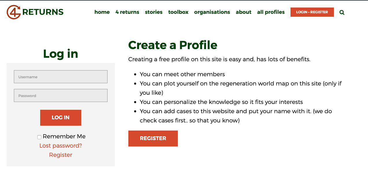 screenshot registration page