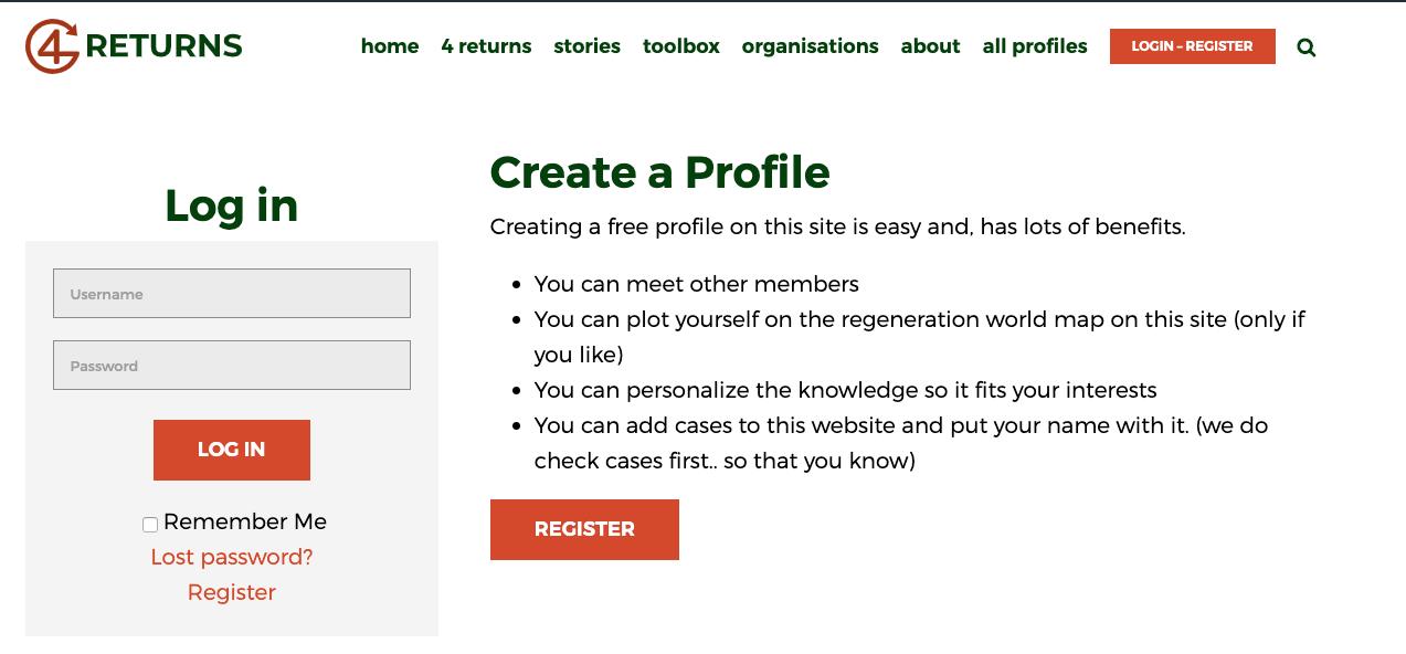 screenshot registration page